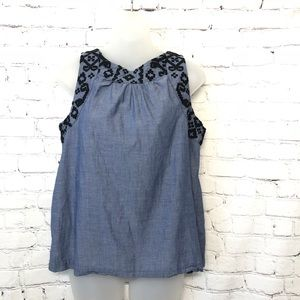 OLD NAVY COTTON EMBROIDERED CASUAL BLUE TANK TOP